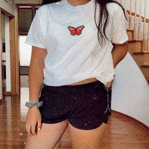 pink butterfly patch tee